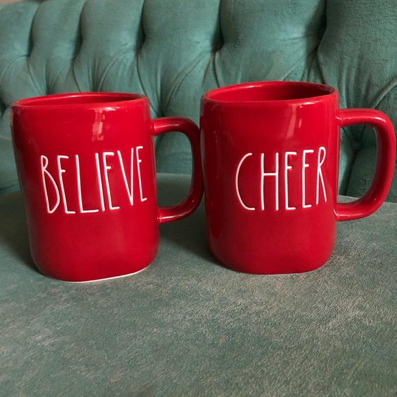 Rae Dunn Other - Rae Dunn red believe and cheer mugs